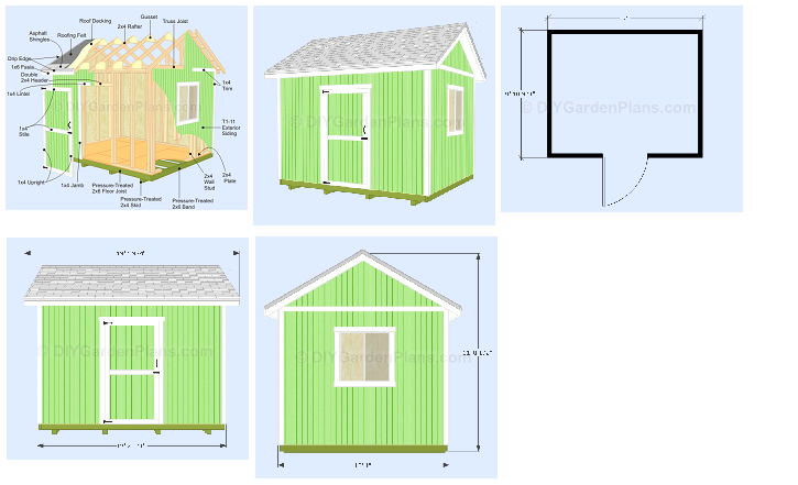 Diy 12x10 gable shed plans for storage garden tools 7 for 12x10 deck plans