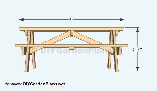 Picnic Table: Material / Cut List - DIY Building Plans For A Picnic Table