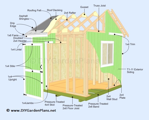 Illustrated shed plans diy building guide 10x10 deck plans